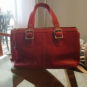 Beautiful vintage red leather Coach bag.